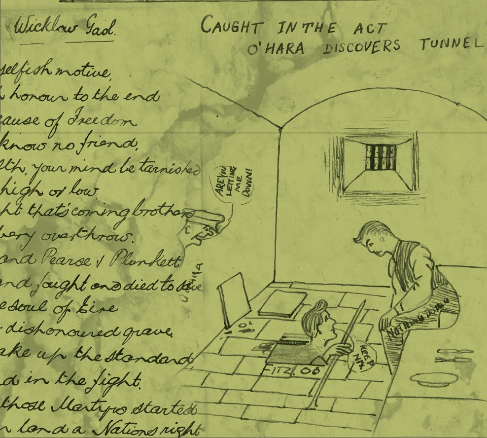 Cartoons and writing depicting a secret prisoner tunnel being discovered.