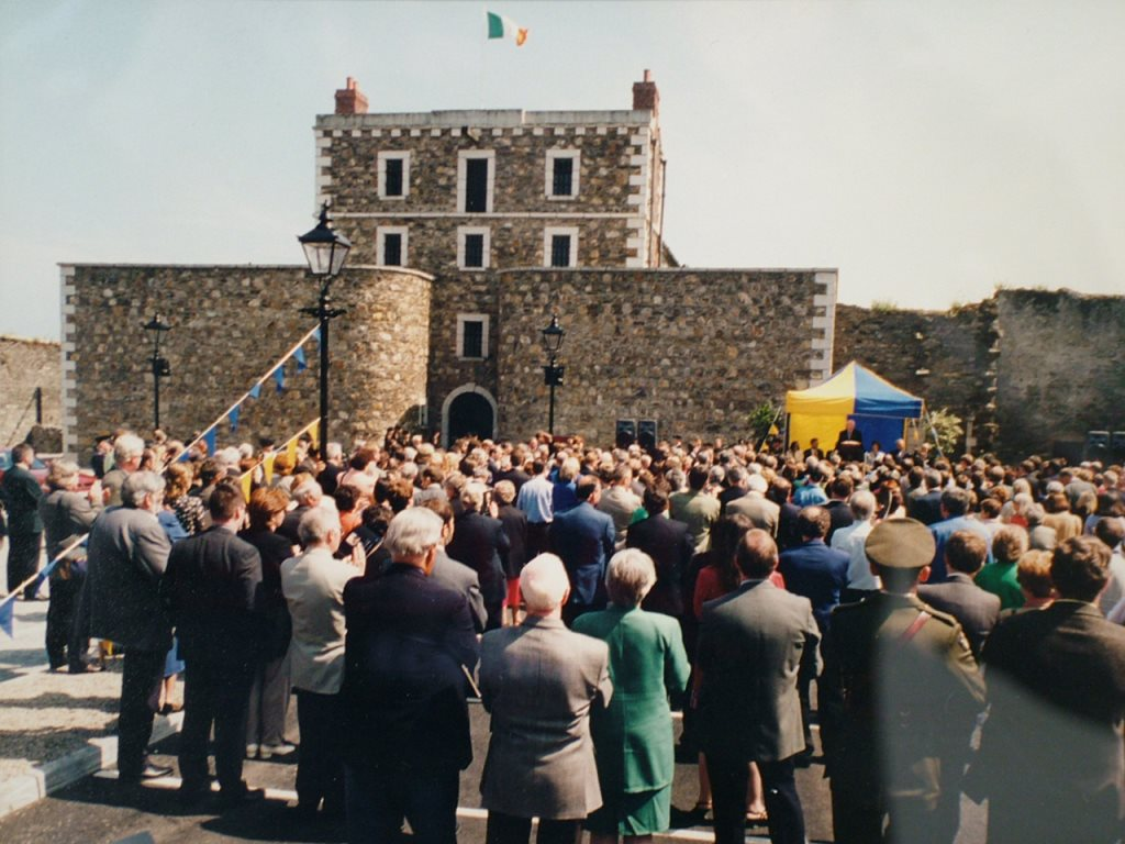 Exterior of Wicklow Gaol with crowd during 1998 opening.